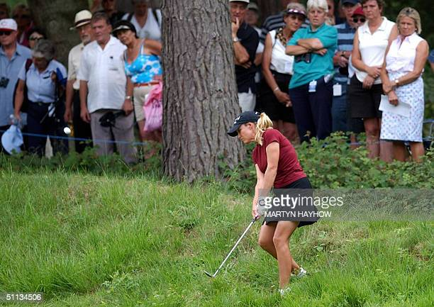 Christie Kerr of the USA piches out of the rough by the 2nd green on the final day of the Weetabix Women's British Open Golf Championship at...