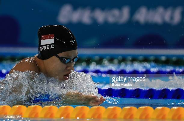 Christie May Chue of Singapore competes in Womens 50m Brakstroke on Day 1 of the Buenos Aires 2018 Youth Olympic Games at Aquatics Center of the...