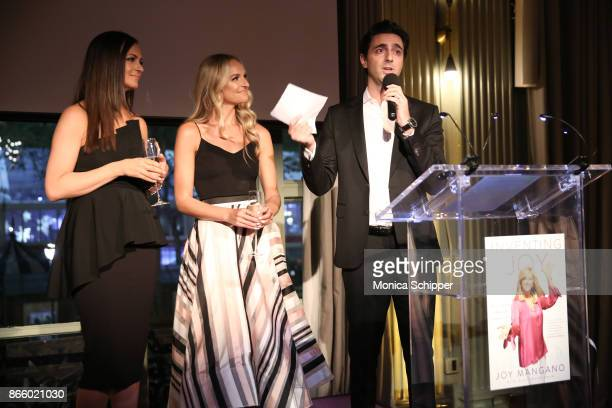 Christie Miranne Jackie Miranne and Robert Miranne speak on stage as inventor and entrepreneur Joy Mangano celebrates the release of her first book...