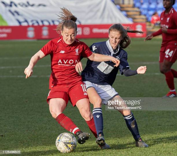 Christie Murray of Liverpool Women and Annie Rossiter of Millwall Lionesses in action during the SSE Womens FA Cup game at Prenton Park on February...