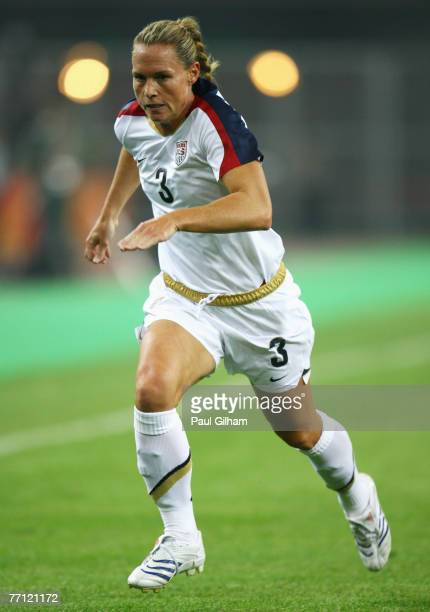 Christie Rampone of United States in action during the Quarter Final of the Women's World Cup 2007 match between USA and England at Tianjin Olympic...