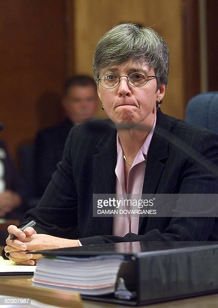 Christie Webb attorney for Charles Manson folllower Leslie Van Houten listens as the members of the Board of Prison Terms commissioners declare her...