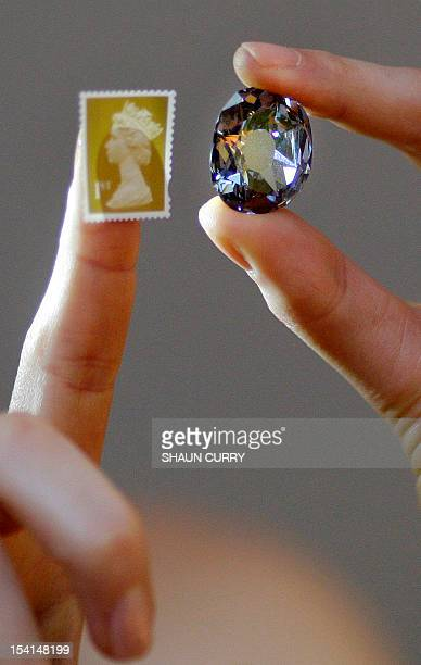 A Christies auction house employee models the Wittelsbach Diamond and a stamp during a press view in London on December 5 2008 The 17th century 3556...