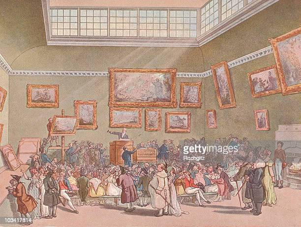 Christie's Auction House in London England Great Britain 1790 The image by Thomas Rowlandson depicts the auction room with a number of paintings on...