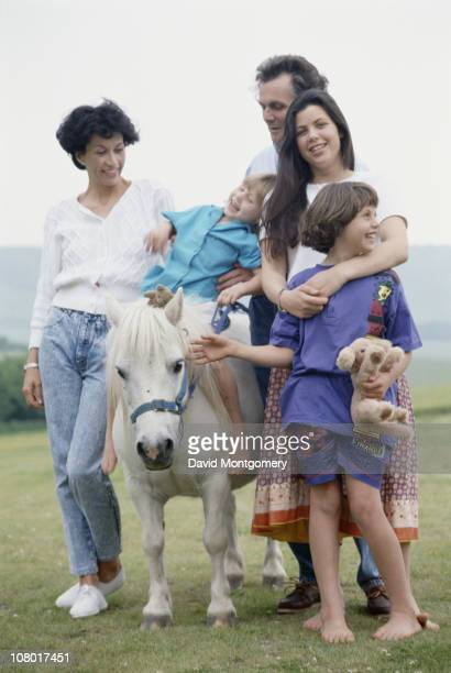 Christie's chairman Charles Henry Allsopp 6th Baron Hindlip with his family his wife Fiona Victoria Jean Atherley and their three daughters Kirstie...