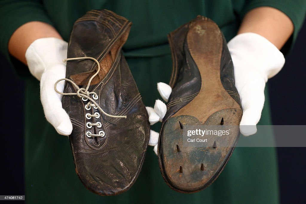 Auction Preview Of Historic Running Shoes Worn By Roger Bannister : News Photo