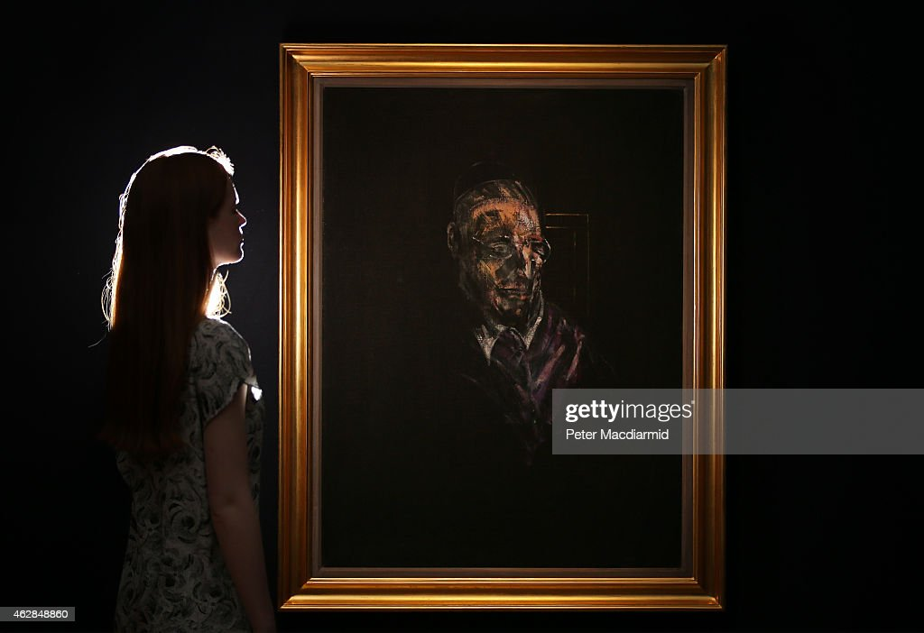 A Christie's employee looks at Francis Bacon's 'Study for a Head' on February 6, 2015 in London, England. Estimated in the region of £9 million, the work forms part of Christie's Post-War and Contemporary Art sales which take place in London on February 11 and 12, 2015.