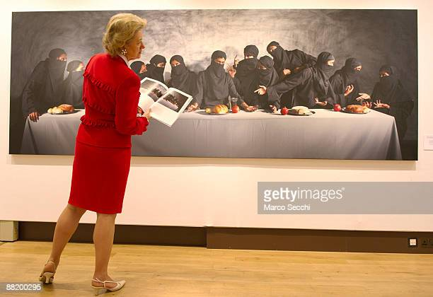 Christie's employee looks at 'The last Supper' a reenactment painting of Leonardo da Vinci by Vivek Vilasini on June 4 2009 in London England