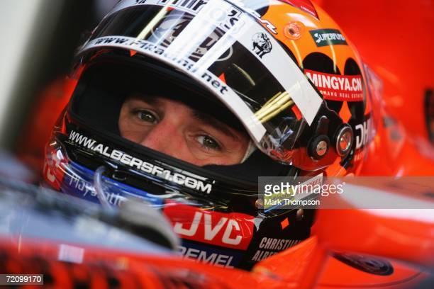 Christijan Albers of Holland and Spyker MF1 Racing in the pits during first practice for the Japanese Formula One Grand Prix at Suzuka Circuit on...