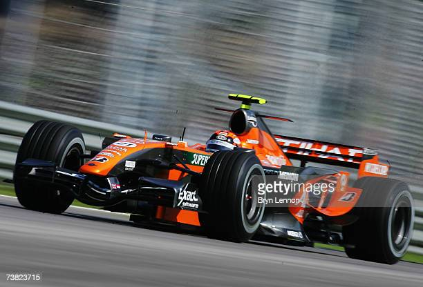 Christijan Albers of The Netherlands and Spyker F1 competes during the practice for the Malaysian Formula One Grand Prix at the Sepang Circuit on...