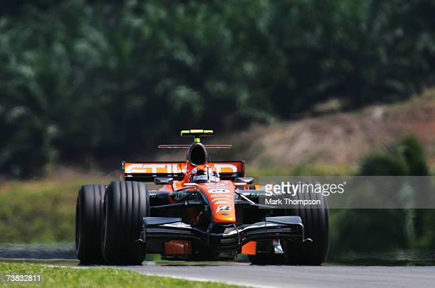 Christijan Albers of The Netherlands and Spyker F1 competes during warm up for the qualifying session of the Malaysian Formula One Grand Prix at the...