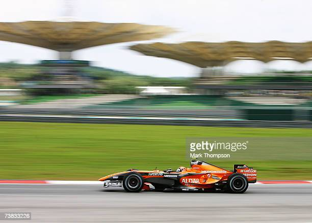 Christijan Albers of The Netherlands and Spyker F1 competes during qualifying for the Malaysian Formula One Grand Prix at the Sepang Circuit on April...