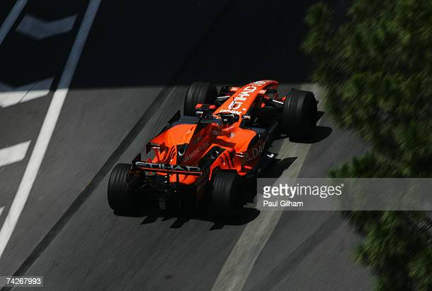 Christijan Albers of The Netherlands and Spyker F1 drives during practice for the Monaco Formula One Grand Prix at the Monte Carlo Circuit on May 24,...
