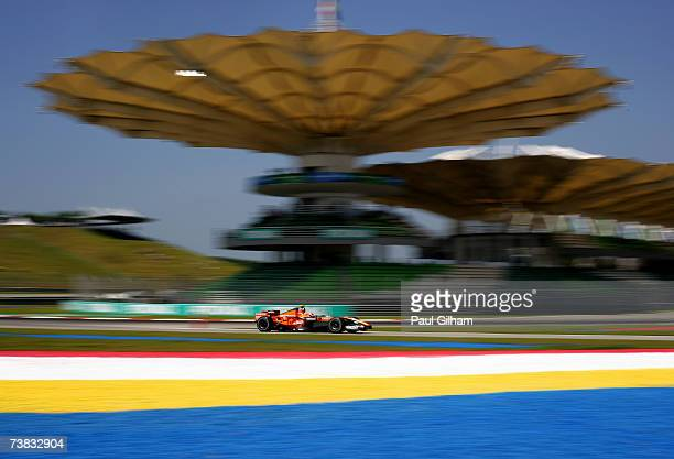 Christijan Albers of The Netherlands and Spyker F1 in action during the warm up before qualifying for the Malaysian Formula One Grand Prix at the...