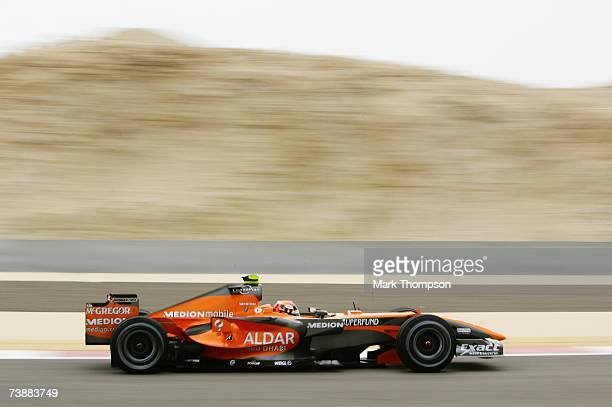 Christijan Albers of The Netherlands and Spyker F1 in action during warm up session prior to qualifying for the Bahrain Formula One Grand Prix at the...
