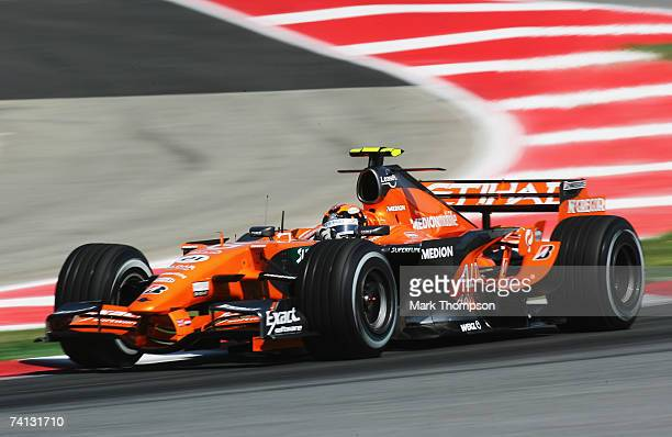 Christijan Albers of The Netherlands and Spyker F1 in action during the warm up session prior to qualifying for the Spanish Formula One Grand Prix at...