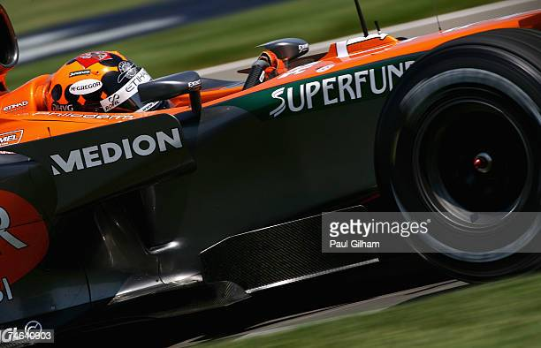 Christijan Albers of The Netherlands and Spyker F1 in action during practice for the F1 Grand Prix of USA at the Indianapolis Motor Speedway on June...