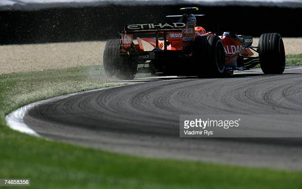 Christijan Albers of the Netherlands and Spyker F1 in action during practice prior to qualifying for the F1 Grand Prix of USA at the Indianapolis...