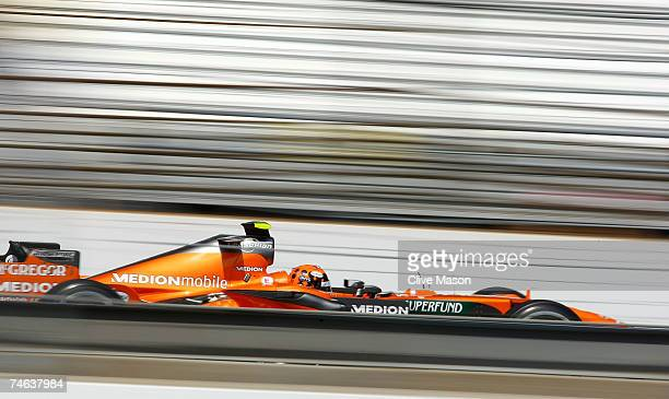 Christijan Albers of The Netherlands and Spyker F1 practices for the F1 Grand Prix of USA at the Indianapolis Motor Speedway on June 15, 2007 in...