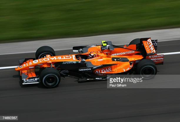 Christijan Albers of The Netherlands and Spyker F1 races during the F1 Grand Prix of USA at the Indianapolis Motor Speedway on June 17, 2007 in...