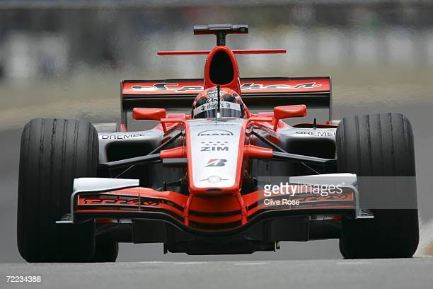 Christijan Albers of the Netherlands and Spyker F1 Racing drives in the practice round before the qualifying session of the Brazilian Formula One...
