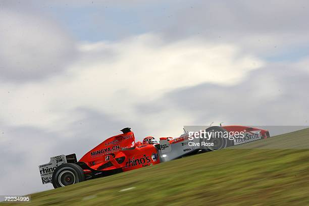 Christijan Albers of the Netherlands and Spyker F1 Racing drives in the qualifying session of the Brazilian Formula One Grand Prix at the Autodromo...