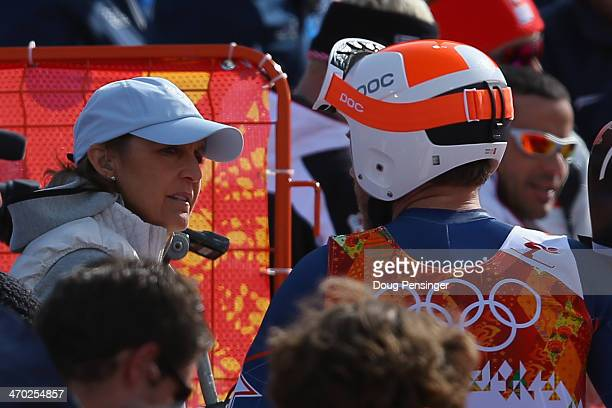 Christin Cooper speaks with Bode Miller of the United States during the Alpine Skiing Men's Giant Slalom on day 12 of the Sochi 2014 Winter Olympics...