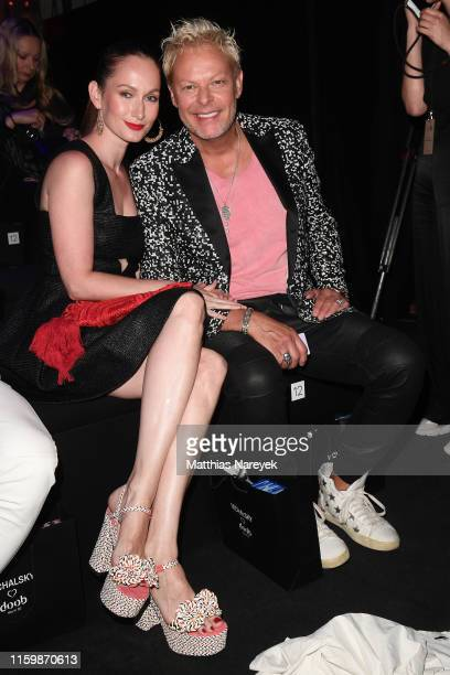 Christin Dechant and Uwe FahrenkrogPetersen attend the Atelier Michalsky show during the Berlin Fashion Week Spring/Summer 2020 at ewerk on July 03...