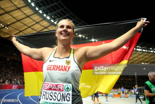 Christin Hussong of Germany celebrates winning Gold in the Women's Javelin Throw final during day four of the 24th European Athletics Championships...
