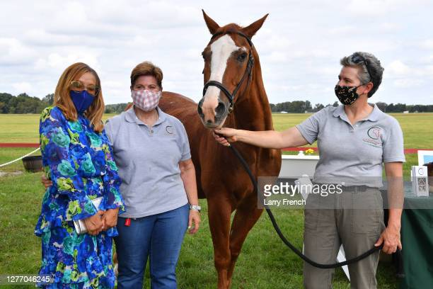 Christin Hutchinson, and Carolyn Jackson and Lesley Shear, both of Circle of Hope Therapeutic Riding appear at Grandiosity Events 4th annual Polo &...