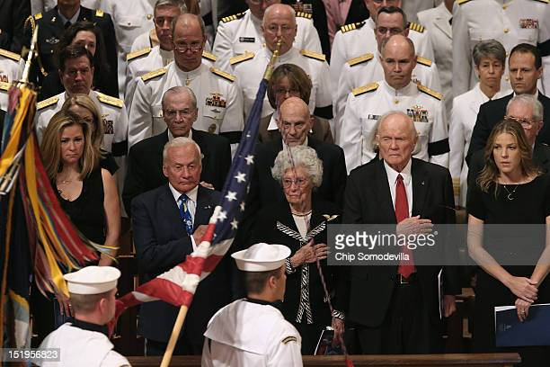Christin Korp Apollo 11 astronaut Buzz Aldrin Annie Glenn astronaut and former US Senator John Glenn and music artist Diana Krall attend the memorial...