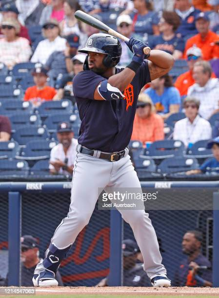 Christin Stewart of the Detroit Tigers bats against the Houston Astros during a spring training game at the FITTEAM Ballpark of the Palm Beaches on...