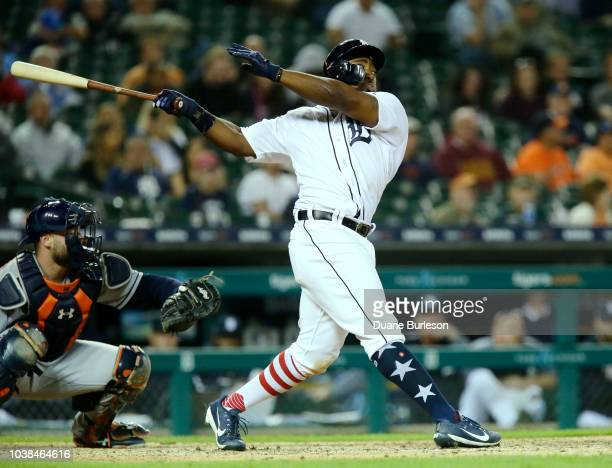 Christin Stewart of the Detroit Tigers bats against the Houston Astros at Comerica Park on September 11 2018 in Detroit Michigan