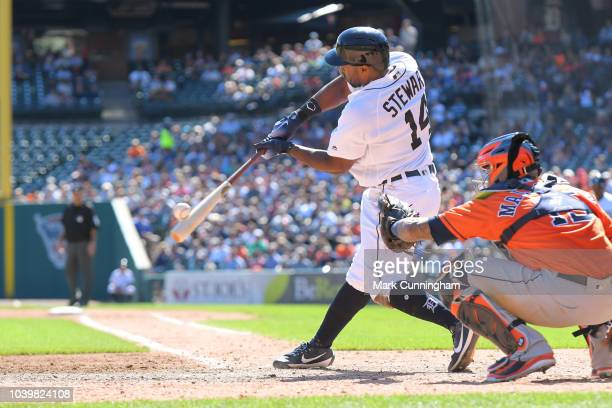 Christin Stewart of the Detroit Tigers bats during the game against the Houston Astros at Comerica Park on September 12 2018 in Detroit Michigan The...