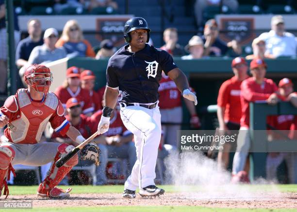 Christin Stewart of the Detroit Tigers bats during the Spring Training game against the Florida Southern Mocs at Publix Field at Joker Marchant...