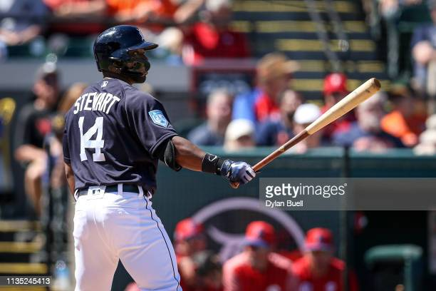 Christin Stewart of the Detroit Tigers bats in the first inning against the Philadelphia Phillies during the Grapefruit League spring training game...