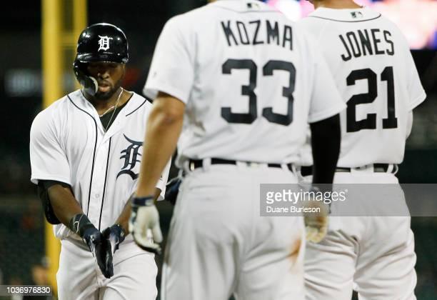 Christin Stewart of the Detroit Tigers celebrates his threerun home run that scored Pete Kozma of the Detroit Tigers and JaCoby Jones of the Detroit...