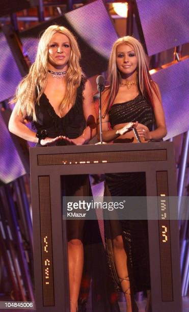 Christina Aguilera and Britney Spears during The 2000 MTV Video Music Awards at Radio City Music Hall in New York City, New York, United States.