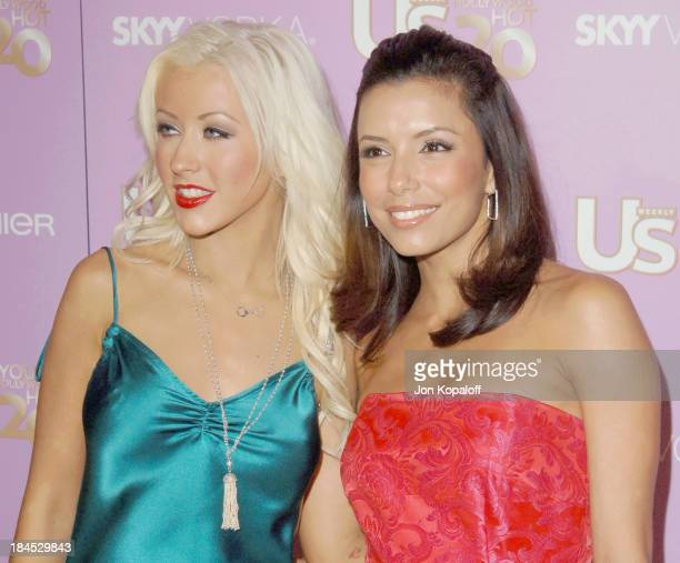 Christina Aguilera and Eva Longoria during US Weekly's Young Hollywood Hot 20 September 16 2005 at LAX in Hollywood California United States