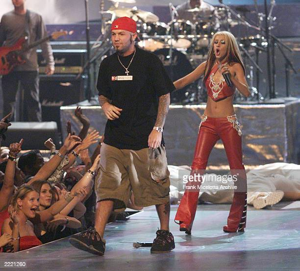 Christina Aguilera and Fred Durst of Limp Bizkit performing on the 2000 MTV Video Music Awards live from Radio City Music Hall in New York City...