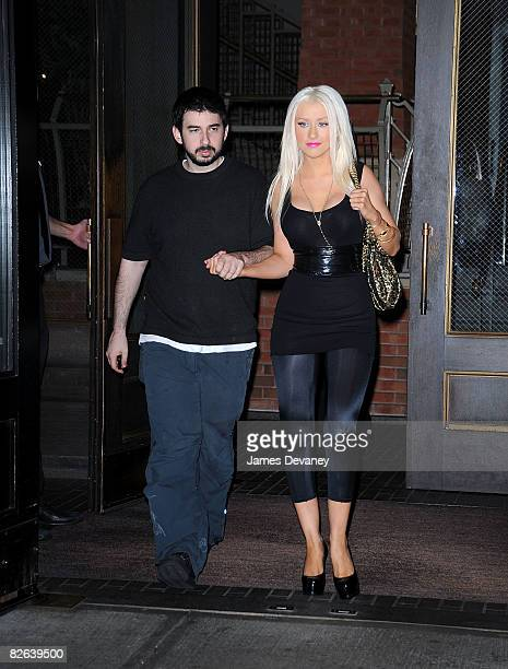 Christina Aguilera and her husband Jordan Bratman seen on the streets of Manhattan on September 2 2008 in New York City