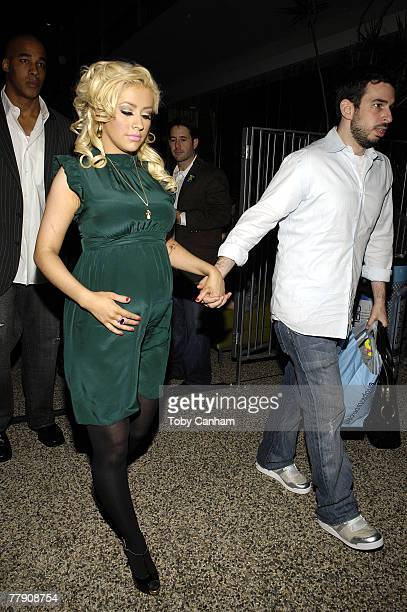 Christina Aguilera and husband Jordan Bratman leave the nationwide launch of Rock The Vote 2008 held at Kitson on November 13 in Beverly Hills...