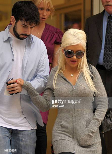 Christina Aguilera and husband Jordan Bratman leaving CNN studios on June 25 2008 in Hollywood California