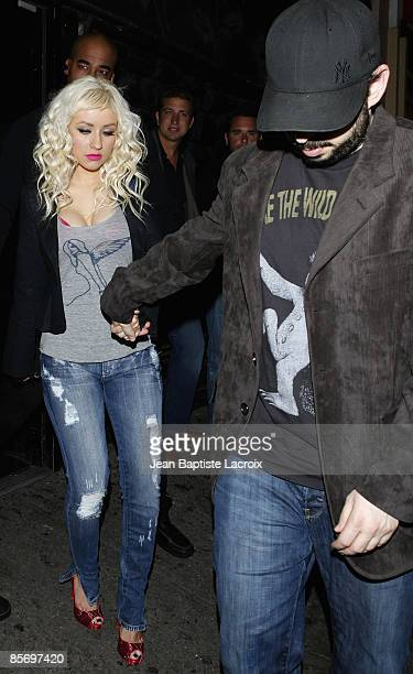 Christina Aguilera and husband Jordan Bratman sighting at Villa Lounge on March 28 2009 in West Hollywood California