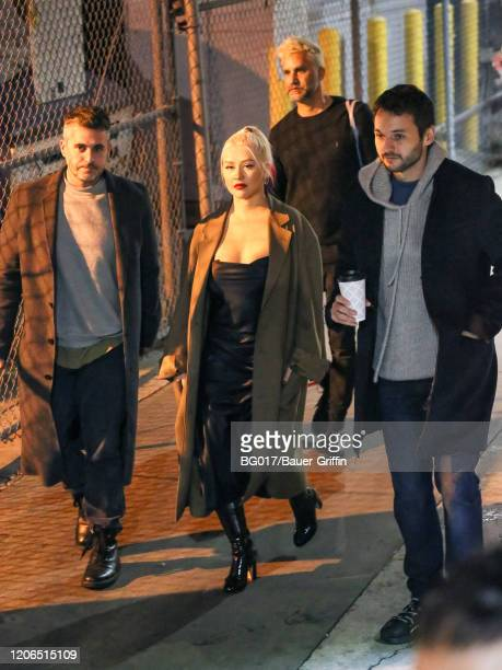 Christina Aguilera and Matthew Rutler are seen arriving at 'Jimmy Kimmel Live' Show on March 10, 2020 in Los Angeles, California.