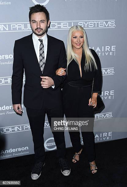 Christina Aguilera and Matthew Rutler attend the fifth annual Baby2Baby gala honoring Jennifer Garner at 3Labs in Culver City on November 12 2016 /...