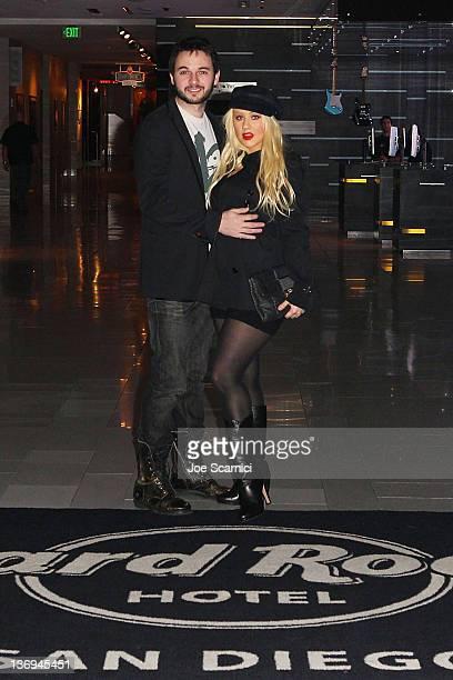 Christina Aguilera and Matthew Rutler visit Hard Rock Hotel San Diego on January 12 2012 in San Diego California