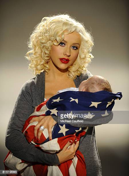 LOS ANGELES CA APRIL 24 Christina Aguilera and son Max record PSA for Rock the Vote on April 24 2008 at Smashbox Studios in Los Angeles California...