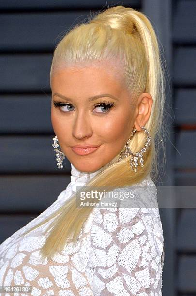 Christina Aguilera arrives at the 2015 Vanity Fair Oscar Party Hosted By Graydon Carter at Wallis Annenberg Center for the Performing Arts on...