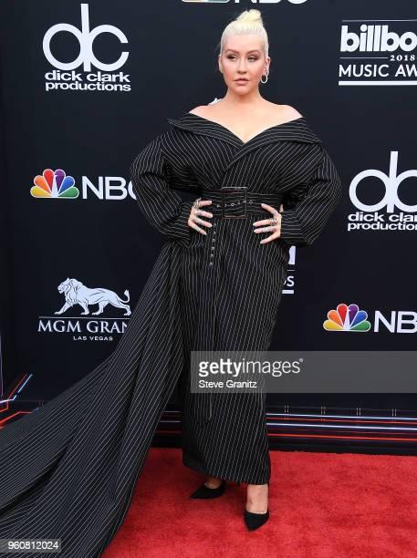 Christina Aguilera arrives at the 2018 Billboard Music Awards at MGM Grand Garden Arena on May 20 2018 in Las Vegas Nevada